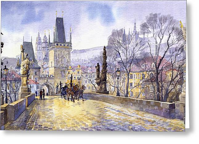 Charles Bridge Paintings Greeting Cards - Prague Charles Bridge Mala Strana  Greeting Card by Yuriy  Shevchuk