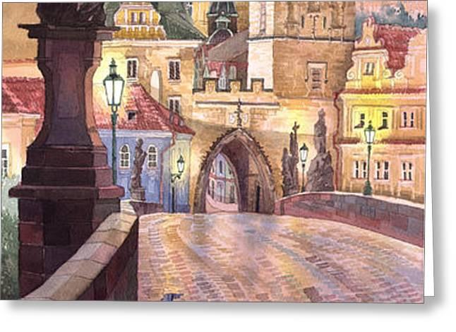 Prague Charles Bridge Night Light 1 Greeting Card by Yuriy  Shevchuk
