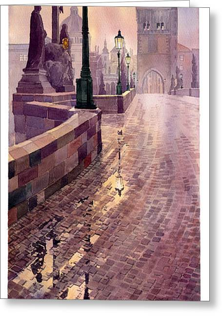 Charles Bridge Paintings Greeting Cards - Prague Charles Bridge Night Light Greeting Card by Yuriy  Shevchuk