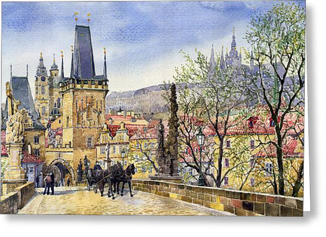 Charles Bridge Paintings Greeting Cards - Prague Charles Bridge Spring Greeting Card by Yuriy  Shevchuk