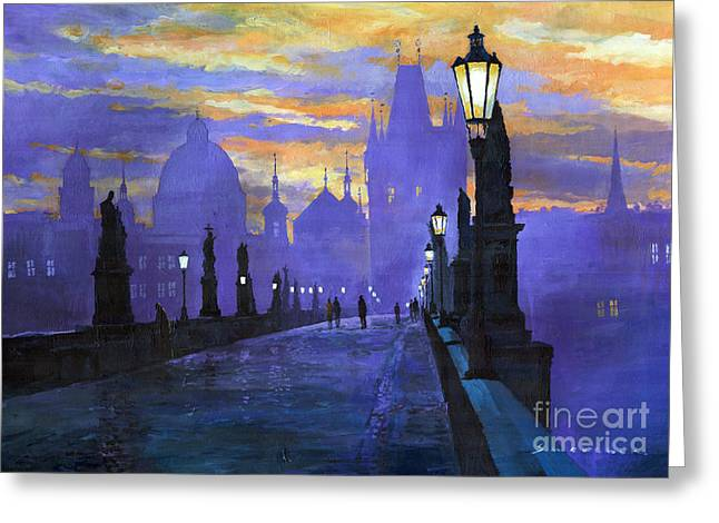 Buildings Paintings Greeting Cards - Prague Charles Bridge Sunrise Greeting Card by Yuriy  Shevchuk