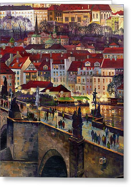 Charles Bridge Paintings Greeting Cards - Prague Charles Bridge with the Prague Castle Greeting Card by Yuriy  Shevchuk
