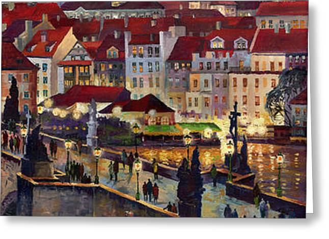 Prague Charles Bridge with the Prague Castle Greeting Card by Yuriy  Shevchuk