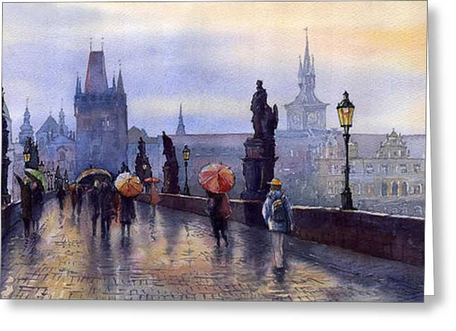 Cityscape Greeting Cards - Prague Charles Bridge Greeting Card by Yuriy  Shevchuk