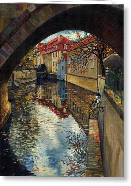 Old Paintings Greeting Cards - Prague Chertovka 3 Greeting Card by Yuriy  Shevchuk