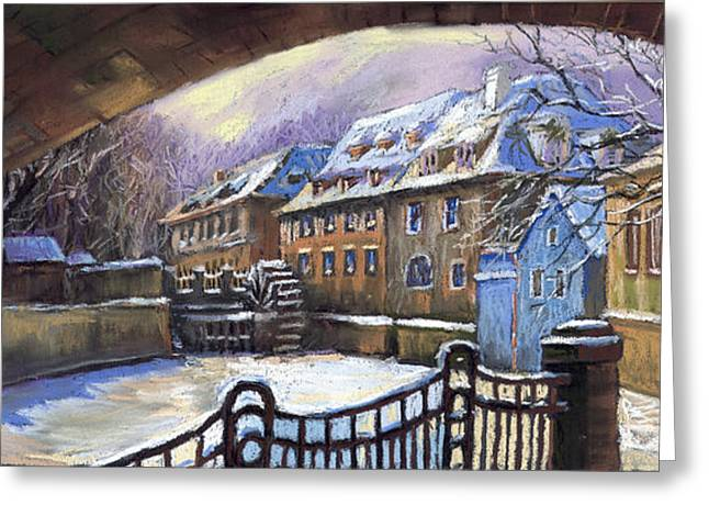 Winter Pastels Greeting Cards - Prague Chertovka Winter 01 Greeting Card by Yuriy  Shevchuk