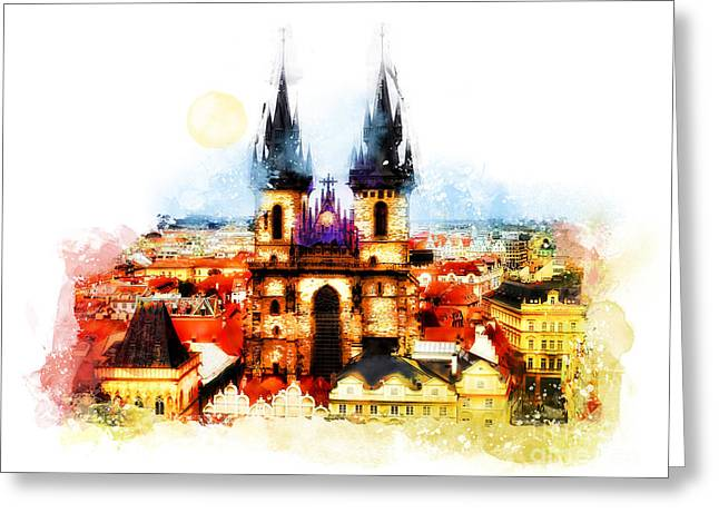 Town Mixed Media Greeting Cards - Prague Church of Our Lady before Tyn  Greeting Card by Justyna JBJart