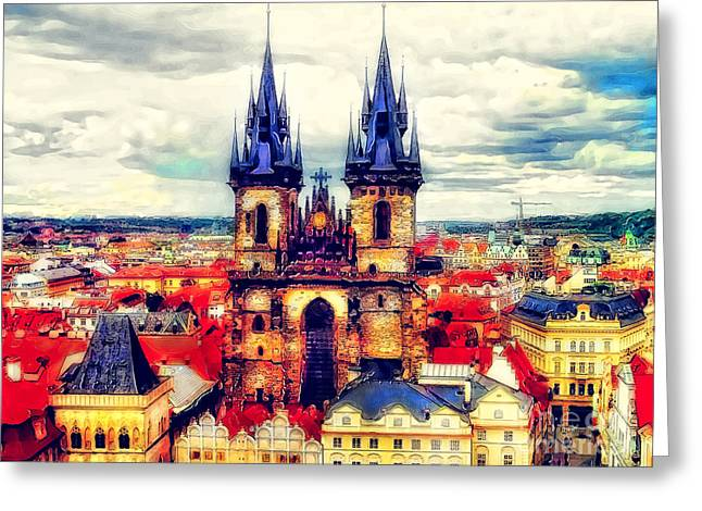 Prague Paintings Greeting Cards - Prague Church of Our Lady before Tyn  watercolor Greeting Card by Justyna JBJart
