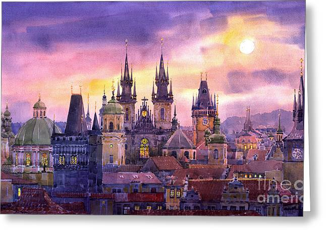 Europe Greeting Cards - Prague City of Hundres Spiers variant Greeting Card by Yuriy  Shevchuk