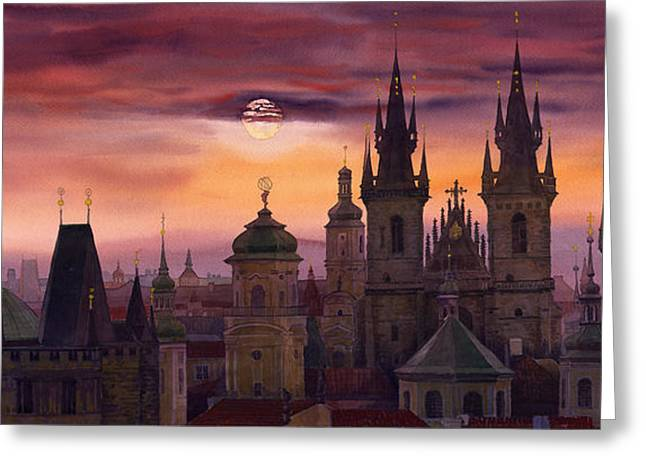 Old Greeting Cards - Prague City of hundres spiers Greeting Card by Yuriy  Shevchuk