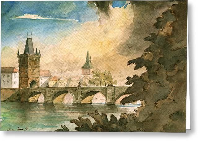 Prague Paintings Greeting Cards - Prague cityscape art Greeting Card by Juan  Bosco
