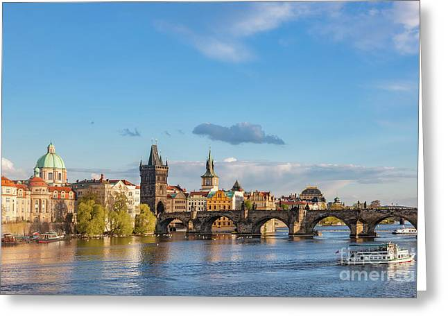 Prague, Czech Republic Skyline With Historic Charles Bridge And Vltava River Greeting Card by Michal Bednarek