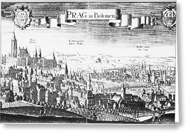 Engraving Greeting Cards - Prague, Czechoslovakia Greeting Card by Granger
