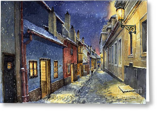 Streetscape Paintings Greeting Cards - Prague Golden Line Winter Greeting Card by Yuriy  Shevchuk