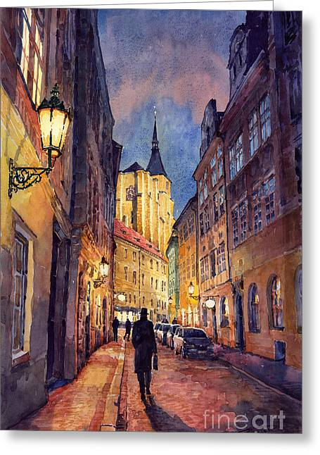 Streetscape Paintings Greeting Cards - Prague Husova Street Greeting Card by Yuriy  Shevchuk