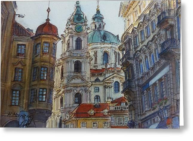 Prague Paintings Greeting Cards - Prague II  Greeting Card by Henrieta Maneva