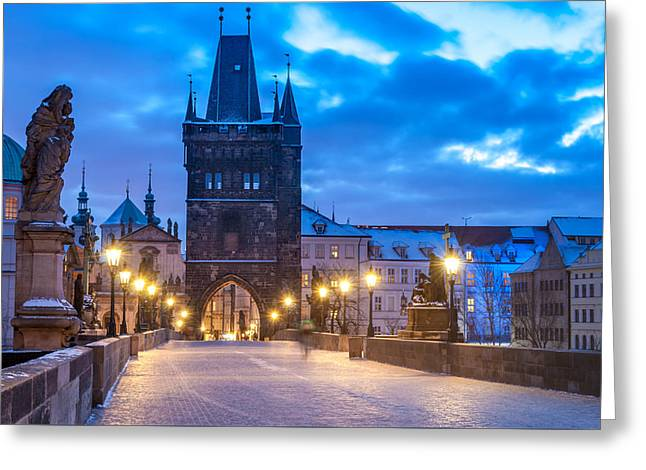 Winter Night Greeting Cards - Prague in blue Greeting Card by Martin Capek