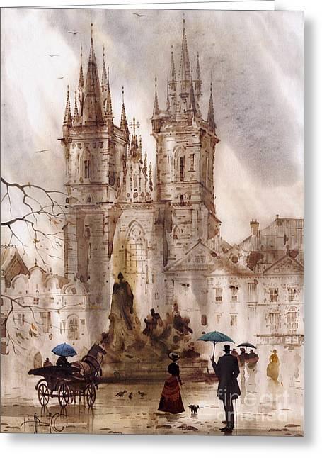 Prague Paintings Greeting Cards - Prague IV Greeting Card by Svetlana and Sabir Gadghievs
