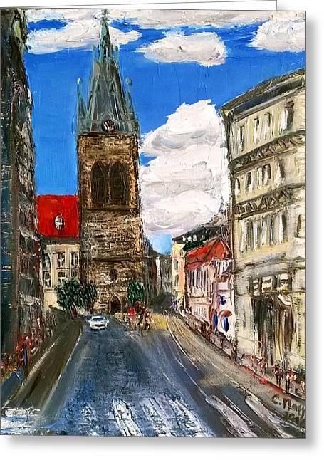 Prague Paintings Greeting Cards - Prague Jindrisska street  Greeting Card by Ctirad Matyas