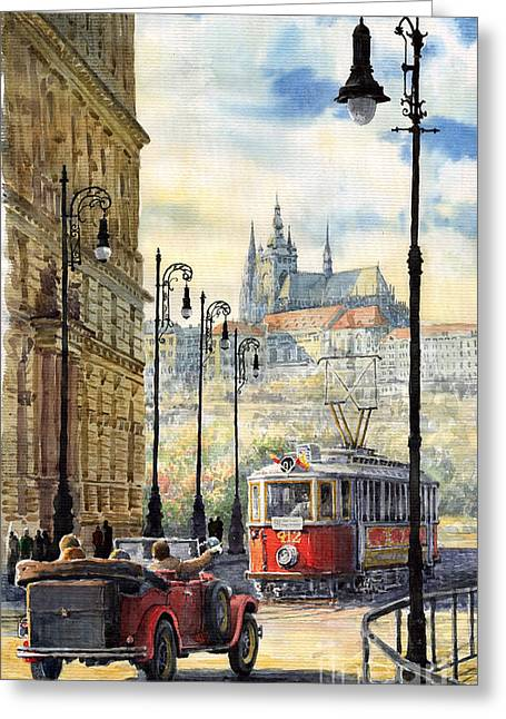 City Scenes Paintings Greeting Cards - Prague Kaprova Street Greeting Card by Yuriy  Shevchuk