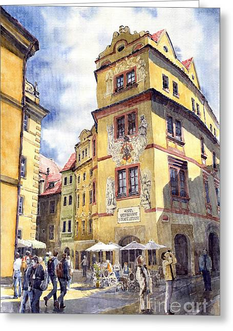 Streetscape Paintings Greeting Cards - Prague Karlova Street Hotel U Zlate Studny Greeting Card by Yuriy  Shevchuk