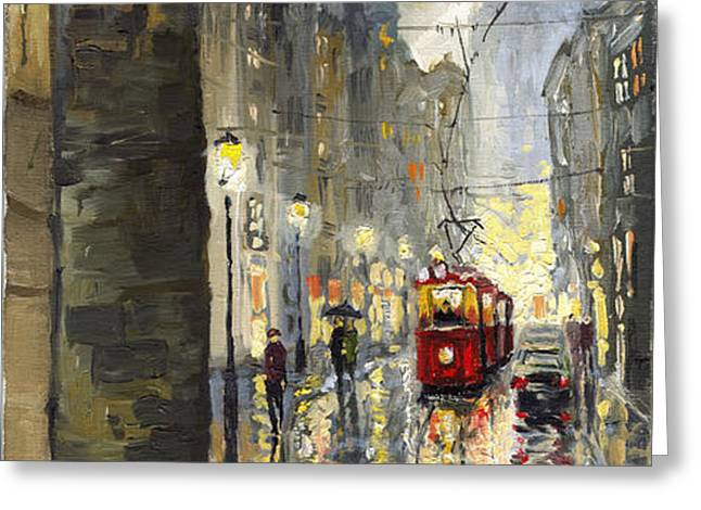 Prague Mostecka street Greeting Card by Yuriy  Shevchuk
