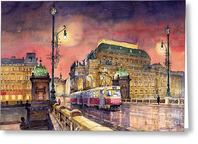 Streetscape Paintings Greeting Cards - Prague  Night Tram National Theatre Greeting Card by Yuriy  Shevchuk