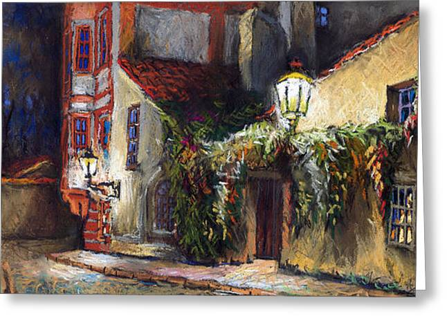 Pastel Greeting Card featuring the painting Prague Novy Svet Kapucinska Str by Yuriy  Shevchuk