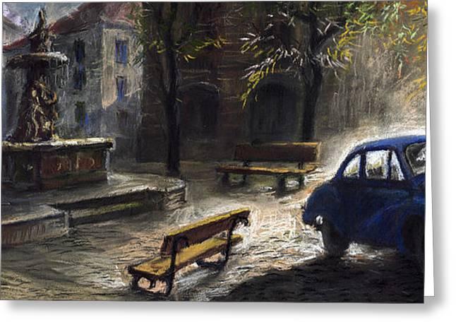 Prague Pastels Greeting Cards - Prague Old Fountain Greeting Card by Yuriy  Shevchuk