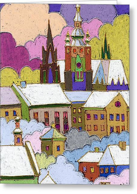 Pastels Greeting Cards - Prague Old Roofs Prague Castle Winter Greeting Card by Yuriy  Shevchuk