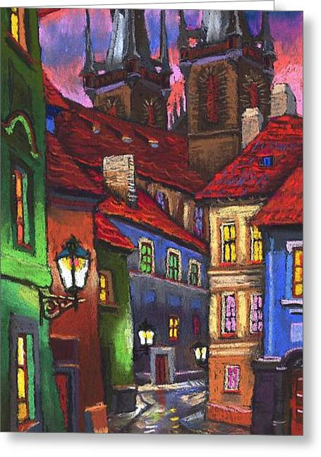 Pastels Greeting Cards - Prague Old Street 01 Greeting Card by Yuriy  Shevchuk