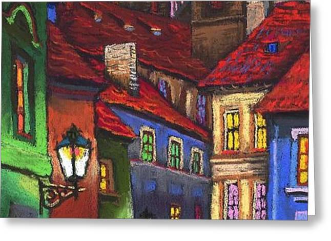 Prague Old Street 01 Greeting Card by Yuriy  Shevchuk