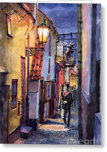People Greeting Cards - Prague Old Street Golden Line Greeting Card by Yuriy  Shevchuk