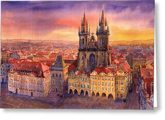 Urban Paintings Greeting Cards - Prague Old Town Square 02 Greeting Card by Yuriy  Shevchuk