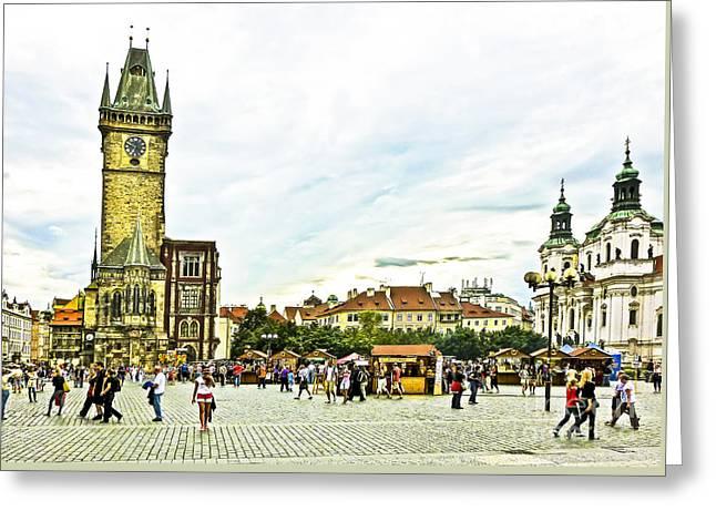 Prague Old Town Square Greeting Card by Edita De Lima