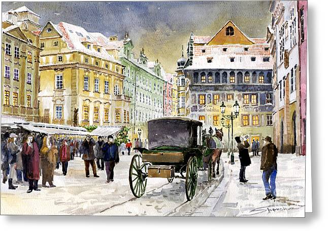 Streetscape Paintings Greeting Cards - Prague Old Town Square Winter Greeting Card by Yuriy  Shevchuk