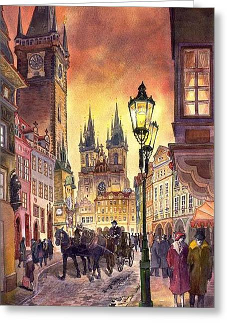Prague Old Town Squere Greeting Card by Yuriy  Shevchuk