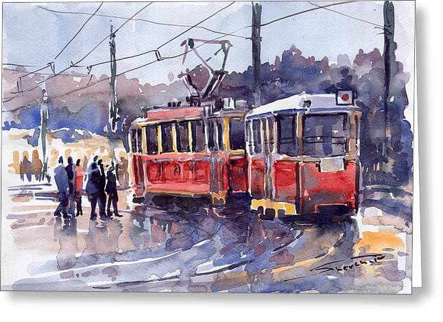 Streetscape Paintings Greeting Cards - Prague Old Tram 01 Greeting Card by Yuriy  Shevchuk