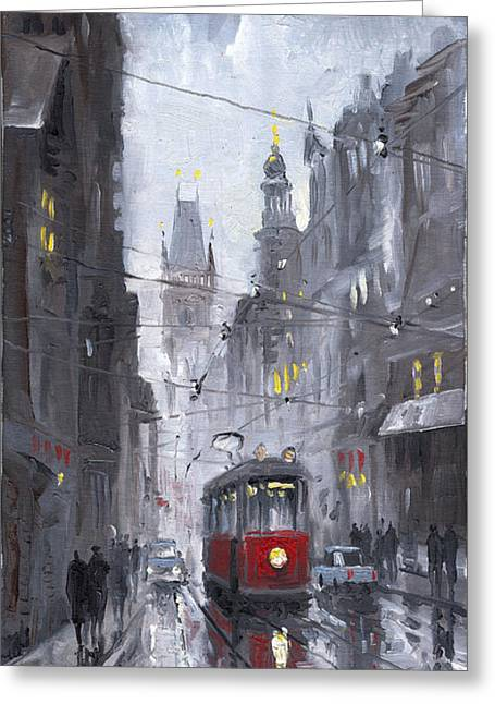 Urban Paintings Greeting Cards - Prague Old Tram 03 Greeting Card by Yuriy  Shevchuk