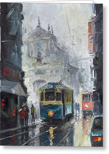 Urban Paintings Greeting Cards - Prague Old Tram 04 Greeting Card by Yuriy  Shevchuk