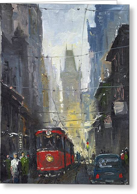 Urban Paintings Greeting Cards - Prague Old Tram 05 Greeting Card by Yuriy  Shevchuk