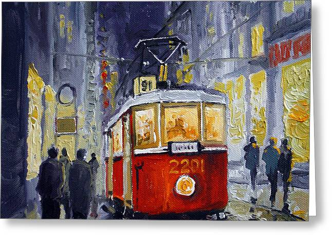 Prague Old Tram 06 Greeting Card by Yuriy  Shevchuk