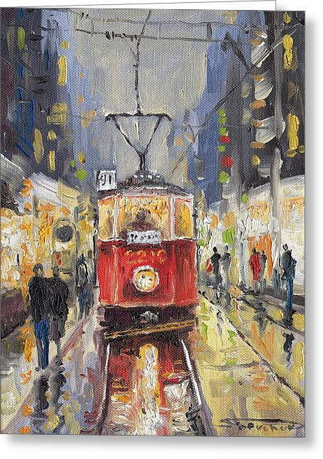 Czech Greeting Cards - Prague Old Tram 08 Greeting Card by Yuriy  Shevchuk