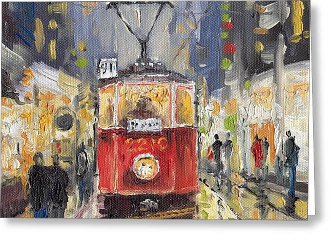 Prague Old Tram 08 Greeting Card by Yuriy  Shevchuk