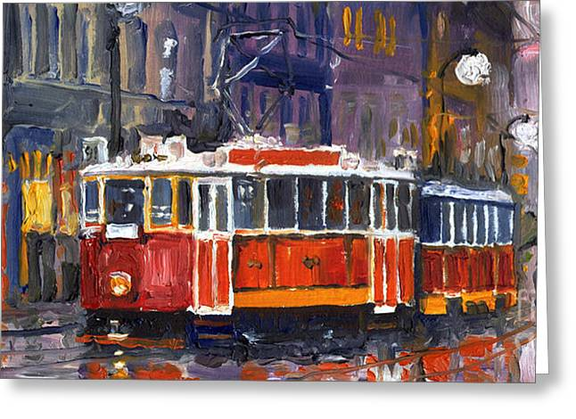 Streetscape Paintings Greeting Cards - Prague Old Tram 09 Greeting Card by Yuriy  Shevchuk