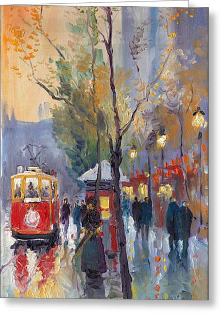 Streetscape Paintings Greeting Cards - Prague Old Tram Vaclavske Square Greeting Card by Yuriy  Shevchuk