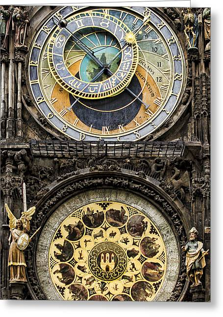 Town Square Greeting Cards - Prague Orloj Greeting Card by Heather Applegate