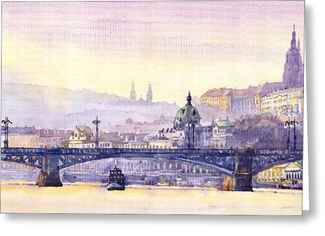 Prague Paintings Greeting Cards - Prague Panorama Chehuv Bridge Greeting Card by Yuriy  Shevchuk