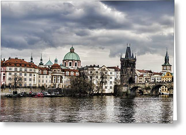 Nicholas Greeting Cards - Prague Panorama Greeting Card by Heather Applegate