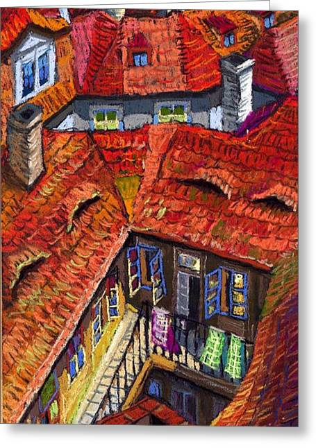 Old Houses Greeting Cards - Prague roofs 01 Greeting Card by Yuriy  Shevchuk